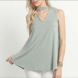 Sage Green Choker Keyhole Tunic Tank Top Large
